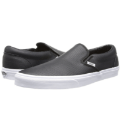VANS(バンズ)「CLASSIC SLIP-ON LEATHER BLACK & TRUE WHITE CLASSIC TUMBLE」