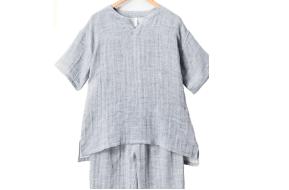 Kaimin Labo「紳士麻入りドビーストライプ柄半袖シャツパジャマ」