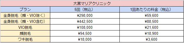 大宮マリアクリニックの料金表画像