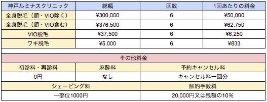 神戸ルミナスクリニックの料金表