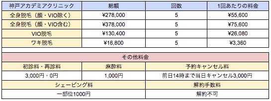 神戸アカデミアクリニックの料金表
